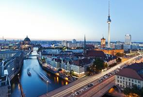 Skyline Of Berlin In Germany With TV Tower, Berlin Town Hall And Cathedral