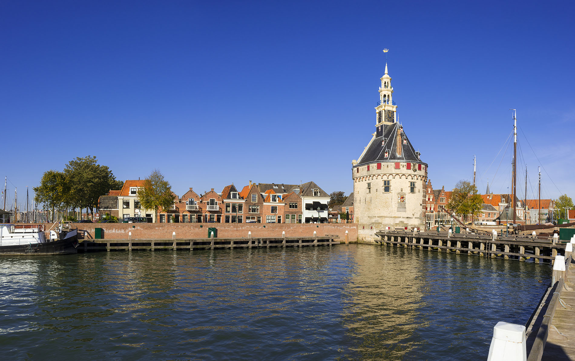 Quaint dock in Hoorn, Netherlands