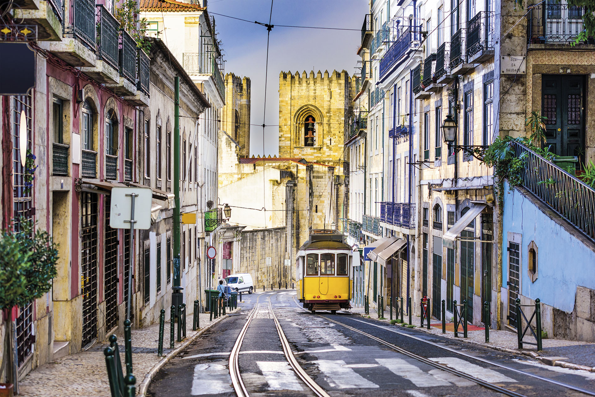 Tramways up timeless Lisbon roads, Portugal