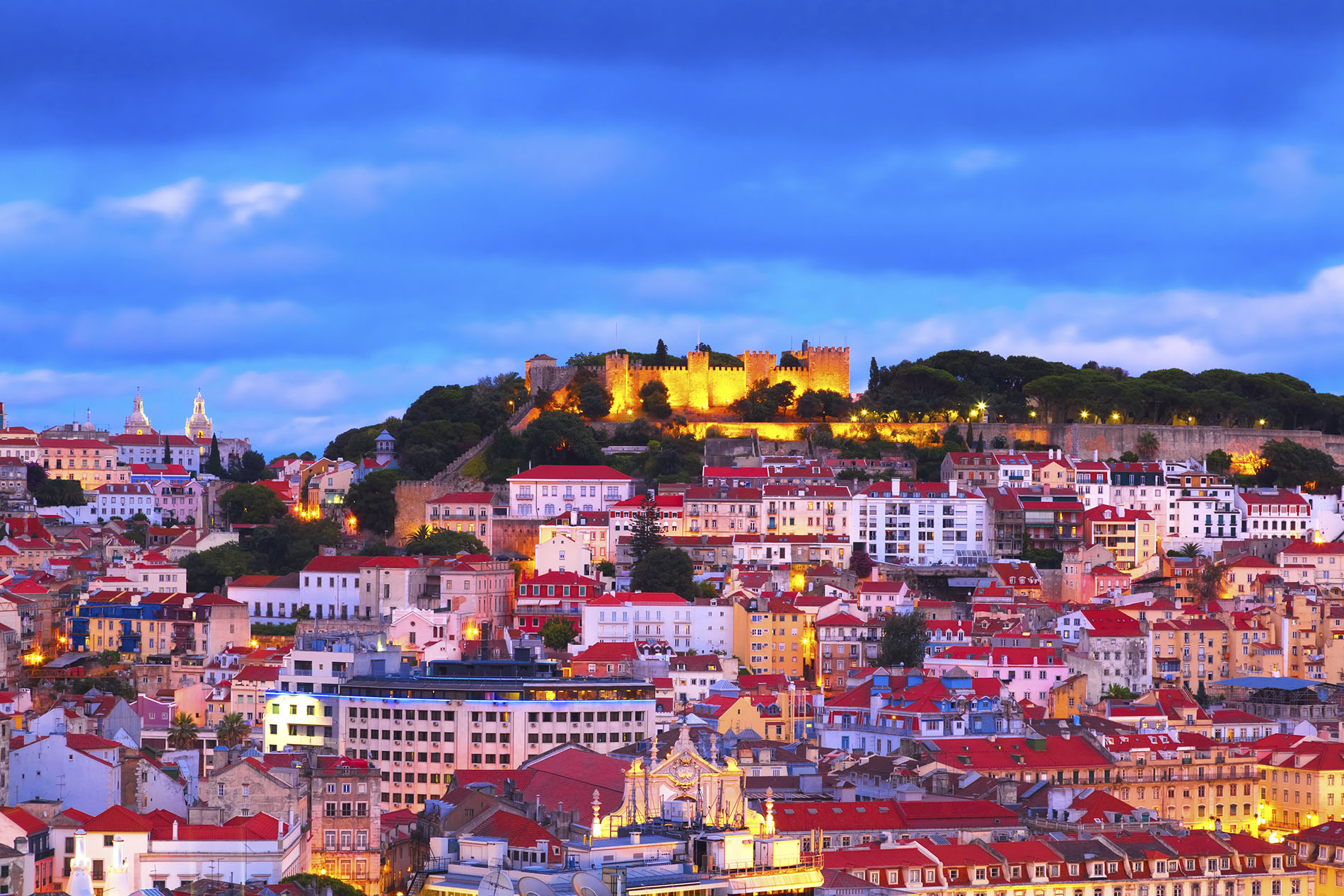 The city of Lisbon at night, Portugal