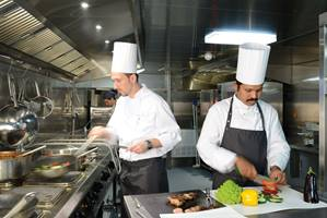 Emerald Waterways on board serving guests food and drink