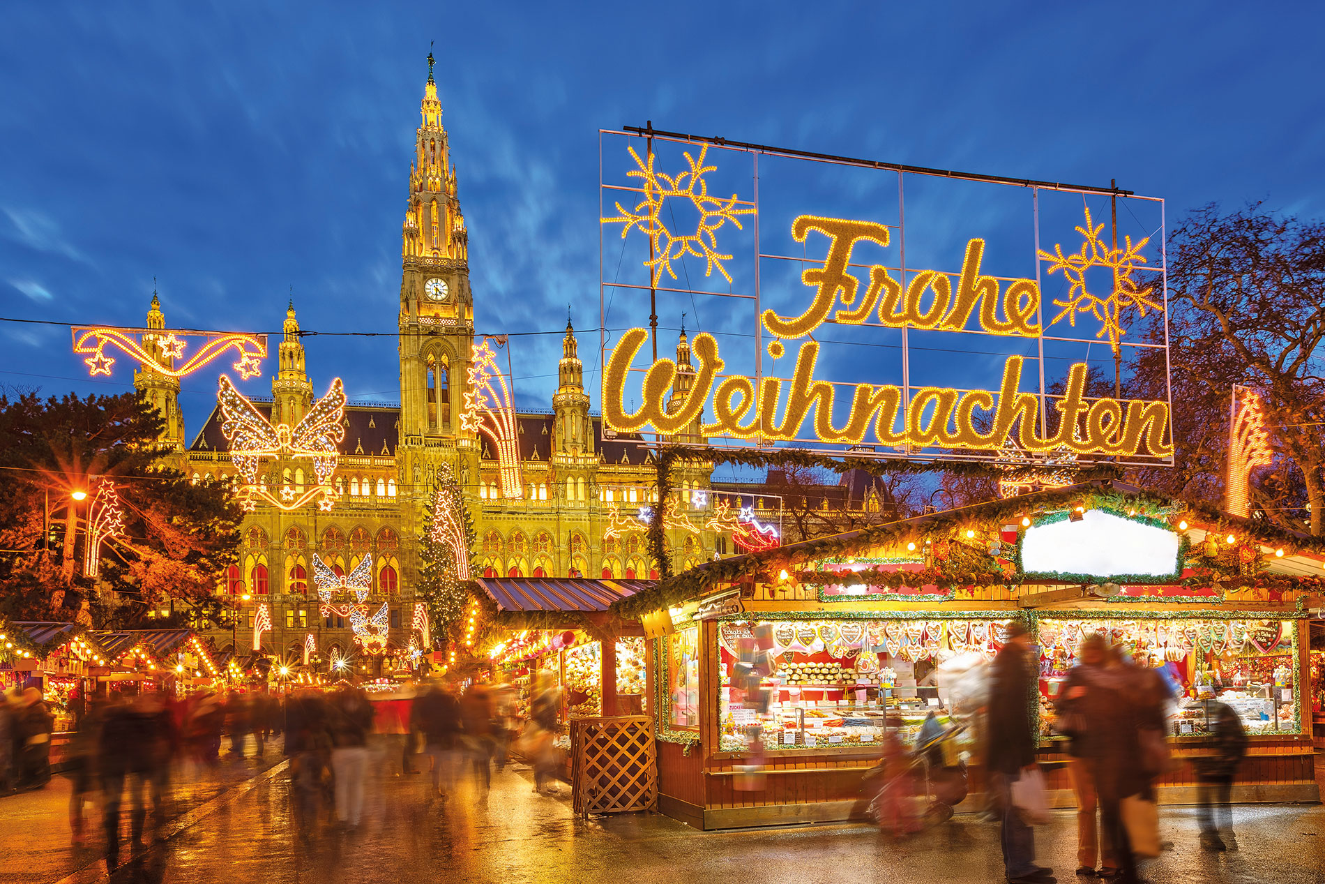 Lights above Vienna Christmas Market