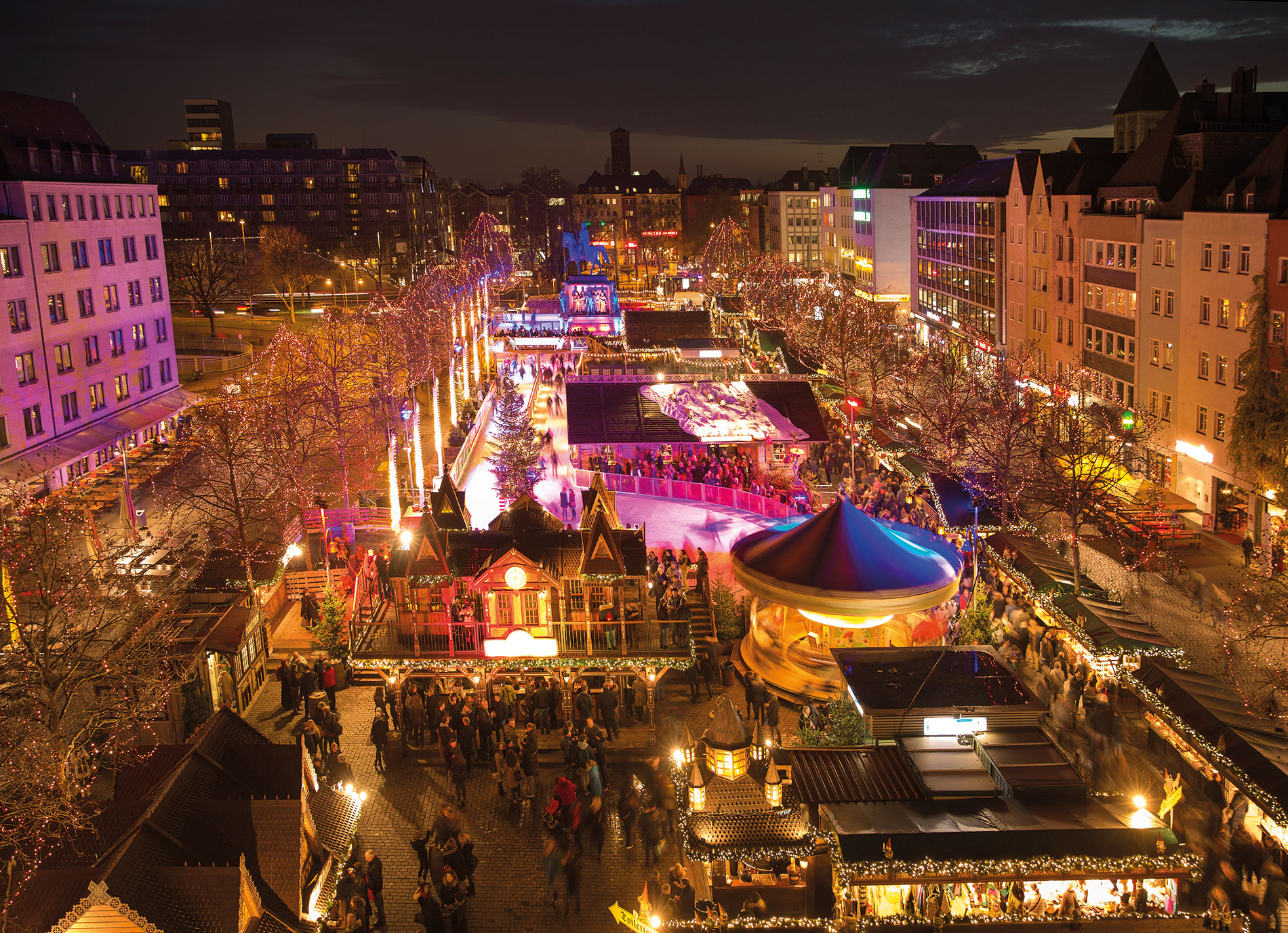 An aerial view of Cologne Christmas Market