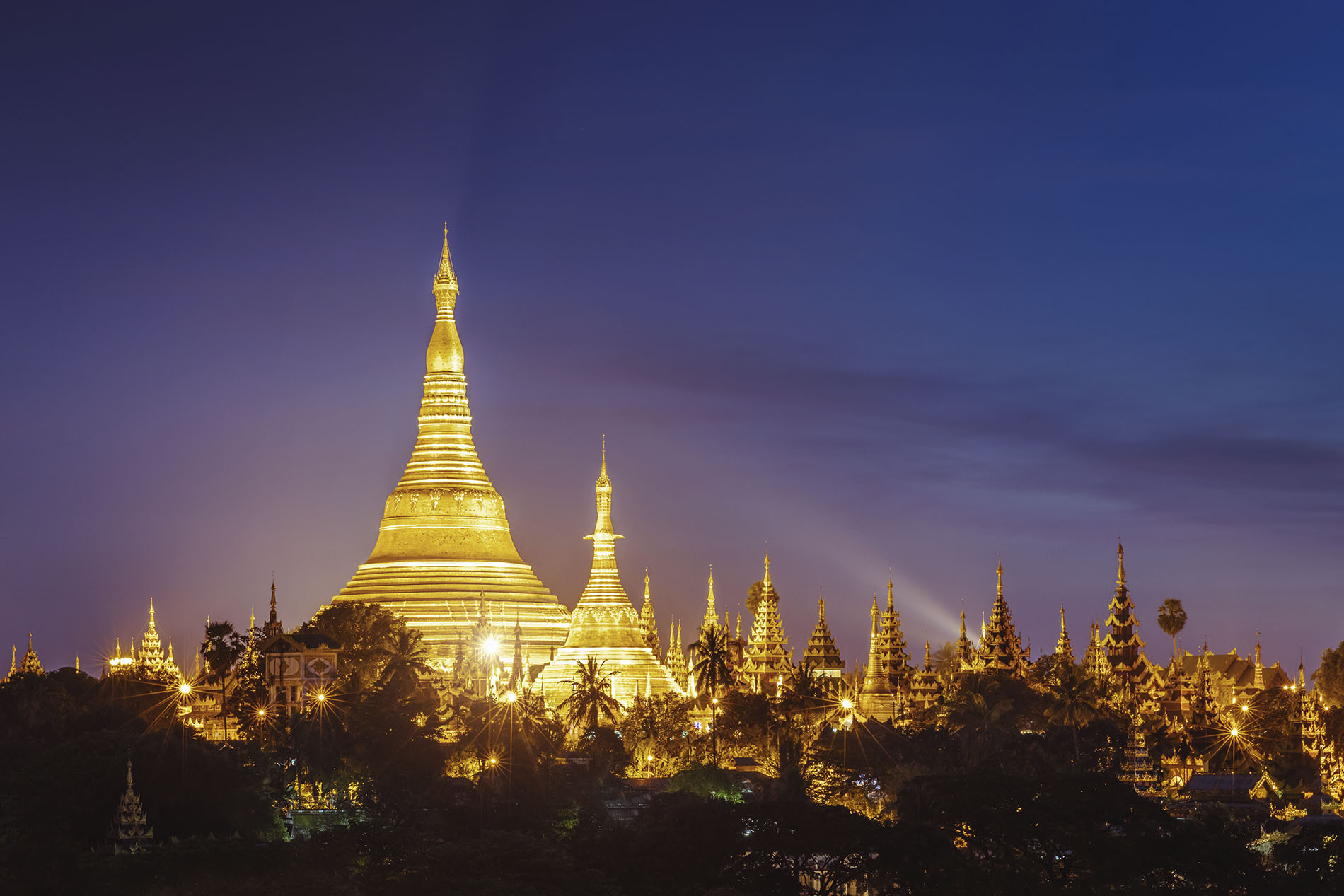 Swedagon Pagoda, Myanmar lit up at night