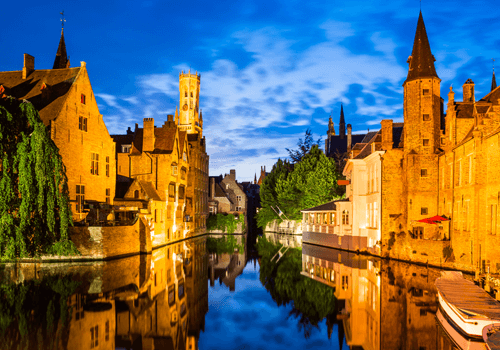 a castle on top of Bruges