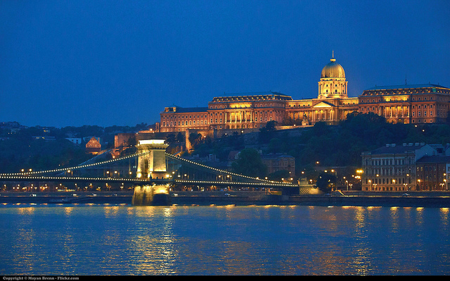 Budapest lit up at night